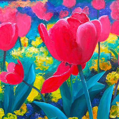 Painting - Red Tulips Painting by Jan Matson