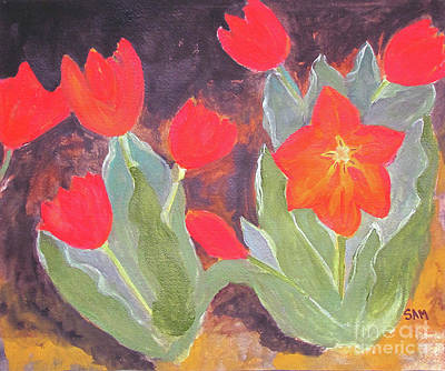 Art Print featuring the painting Red Tulips by Sandy McIntire