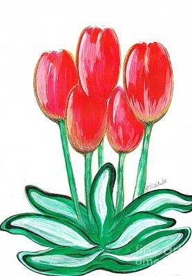 Mixed Media - Red Tulips by Teresa White