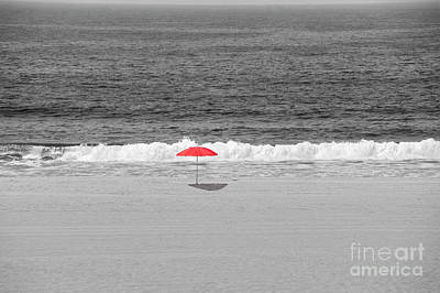 Photograph - Red Umbrella All Alone Bw by David Zanzinger