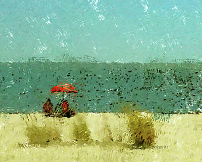 Digital Art - Red Umbrella Beach Coastal by Rebecca Korpita