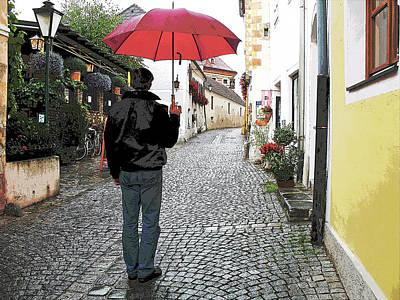 Durnstein Photograph - Red Umbrella by Joanne Riske