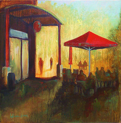 Pacific Northwest Painting - Red Umbrella by LaDonna Kruger
