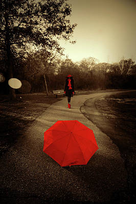 Photograph - Red Umbrella by Lilia D