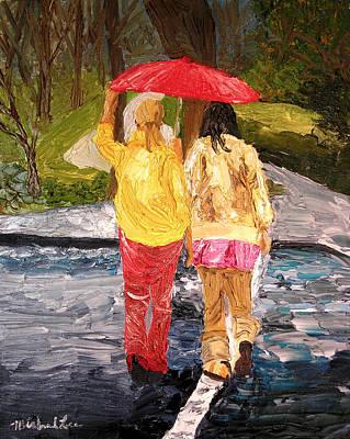 Red Umbrella Art Print by Michael Lee