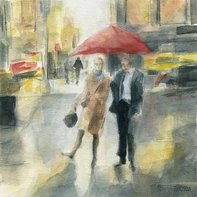 Rainy Day Painting - Red Umbrella New York City by Beverly Brown Prints