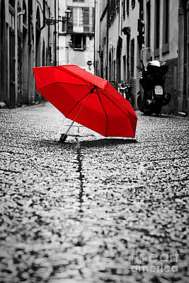 Open Photograph - Red Umbrella On Cobblestone Street In The Old Town by Michal Bednarek
