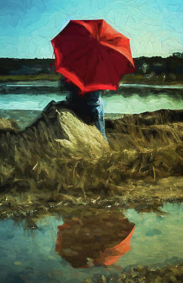Digital Art - Red Umbrella by Patrice Zinck