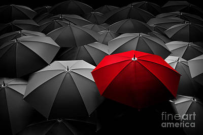 Red Umbrella Stand Out From The Crowd Of Many Black And White Umbrellas Art Print by Michal Bednarek