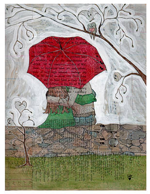 Early Spring Mixed Media - Red Umbrella by Susan DiGilio