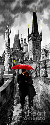 Mixed-media Mixed Media - Red Umbrella by Yuriy  Shevchuk