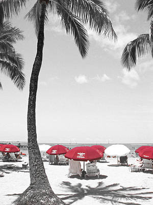 Red Umbrellas On Waikiki Beach Hawaii Art Print by Kerri Ligatich
