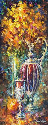 Red Vase Art Print by Leonid Afremov