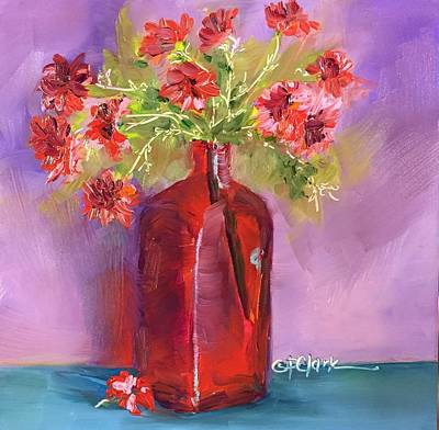 Painting - Red Vase-pink Flowers by Donna Pierce-Clark