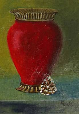 Painting - Red Vase With Pine Cone by Grace Diehl