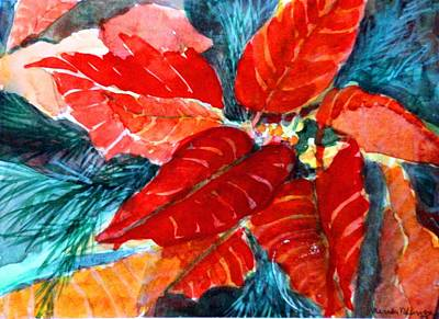 Fir Trees Drawing - Red Velvet Christmas by Mindy Newman