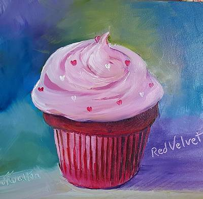 Painting - Red Velvet Cupcake by Judy Fischer Walton