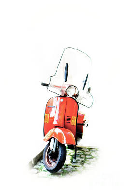 Photograph - Red Vespa Motor Scooter by Edward Fielding
