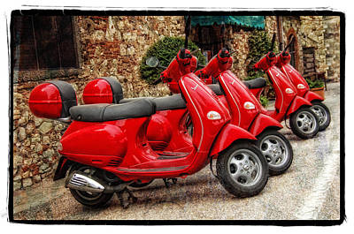Red Vespas Print by Mauro Celotti