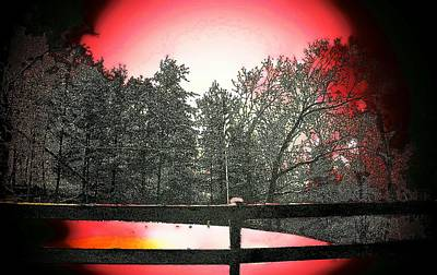 Split Rail Fence Mixed Media - Red by Victor Sexton