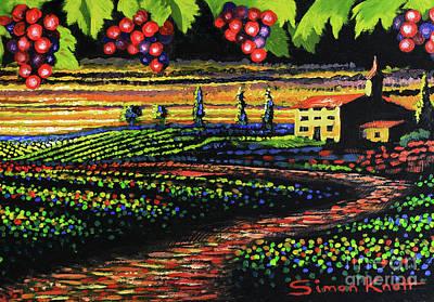 Italian Wine Painting - Red Vine Yard - Tuscany Wine by Simon Knott