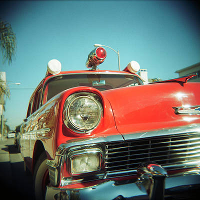 Photograph - Red Vintage Ambulance by Sabine Konhaeuser