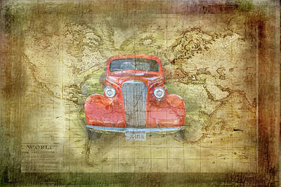 Digital Art - Red Vintage Traveler by Ramona Murdock
