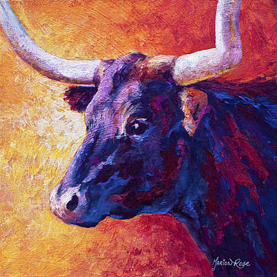 Steer Painting - Red Violet by Marion Rose