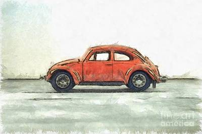 Photograph - Red Vw Beetle Bug Pencil by Edward Fielding