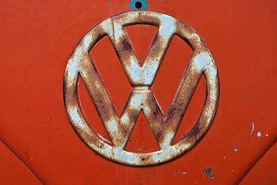 Photograph - Red Vw Bus Emblem by Jani Freimann