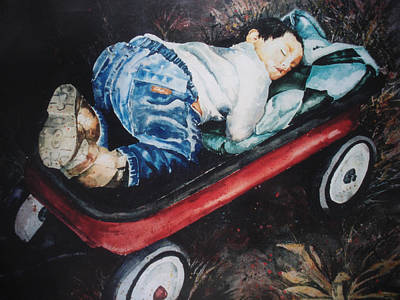 Little Red Wagon Painting - Red Wagon Nap by Cheryl Bishop