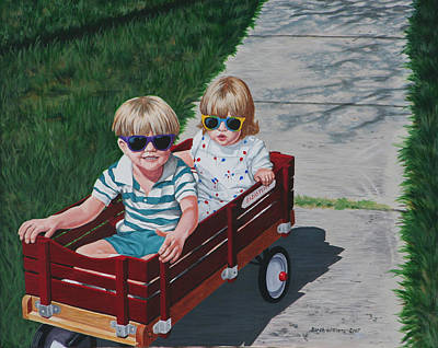 Red Wagon Art Print by Penny Birch-Williams