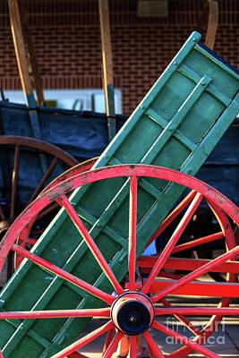 Red Wagon Wheel Art Print