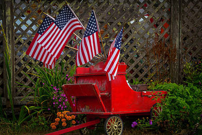 Blue Flowers Photograph - Red Wagon With Flags by Garry Gay