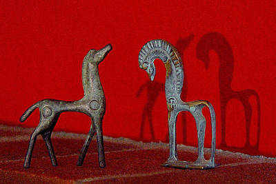 Digital Art - Red Wall Horse Statues by Jana Russon