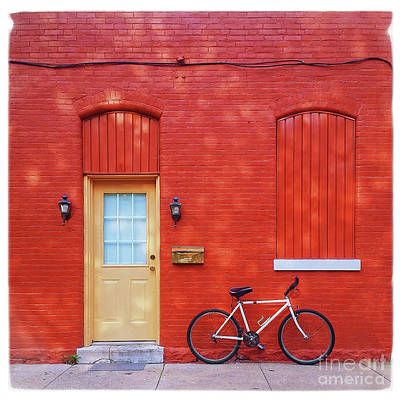 Biking Photograph - Red Wall White Bike by Edward Fielding