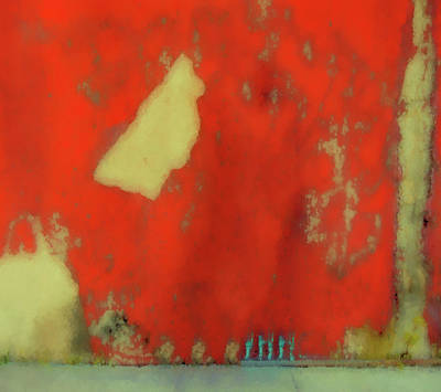 Digital Art - Red Wall With Boot  by Kandy Hurley