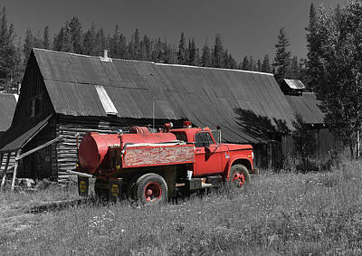 Photograph - Red Water Truck by Richard J Cassato