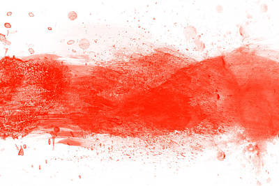 Artwork Photograph - Red Watercolor Splashes Of Paint On Canvas. Perfect For Brush, Design, Template by Michal Bednarek