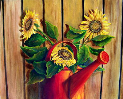 Red Watering Can With  Sunflowers.  Sold Art Print