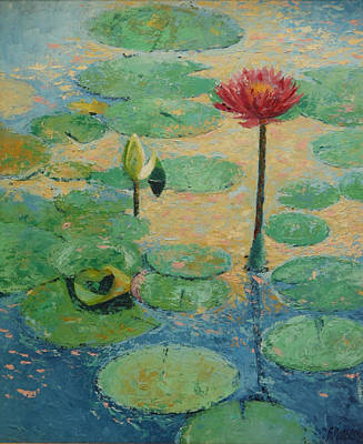 Waterlillys Painting - Red Waterlilly by William Rogers