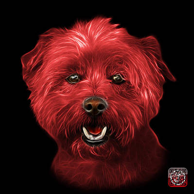 Mixed Media - Red West Highland Terrier Mix - 8674 - Bb by James Ahn