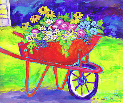 Painting - Red Wheelbarrow Bouquet By Peggy Johnson by Peggy Johnson