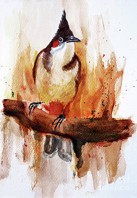 Red Whiskered Bulbul Painting - Red Whiskered Bulbul by Jasna Dragun