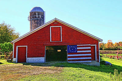 Photograph - Red, White, And Blue Barn by Allen Beatty