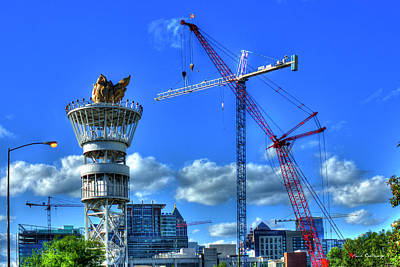 Photograph - Red White And Blue Cranes Atlanta Construction Art by Reid Callaway