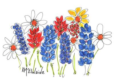 Painting - Red White And Blue Garden By Kmcelwaine by Kathleen McElwaine