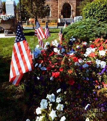 Red White And Blue - Memorial Garden Stroudsburg Pa Art Print by Janine Riley