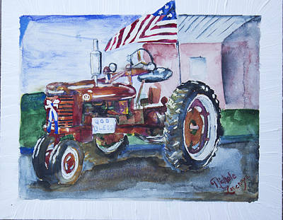 Steam Tractor Painting - Red White And Blue by Nichole Lorenzen