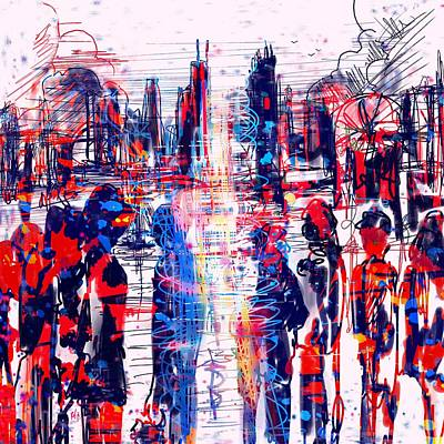 Division Digital Art - Red White And Blue by Rachel Christine Nowicki